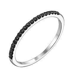 Каблучка з білого золота з чорними діамантами 000122390