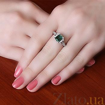 Серебряное кольцо Дария с зеленым кварцем и фианитами 000011218