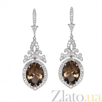 Золотые серьги с бриллиантами и раухтопазами Bliss ZMX--EDRt-00160w
