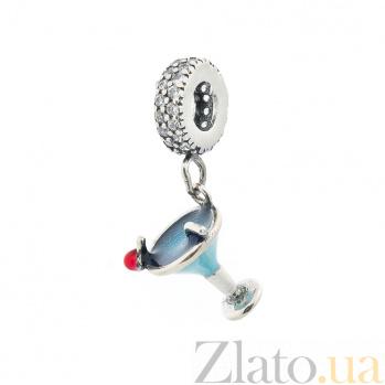 Серебряный шарм Мартини с фианитами, красной и синей эмалью 000080245