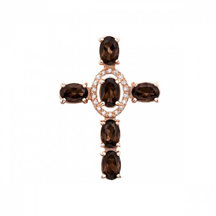 Декоративный крестик из красного золота с раухтопазами и фианитами 000131530 000131530