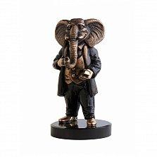 Бронзовая скульптура Бизнесмен с холодной эмалью на базальтовой подставке