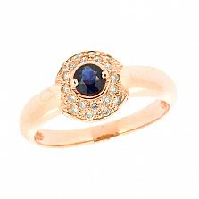 Золотое кольцо с сапфиром и бриллиантами Селесте