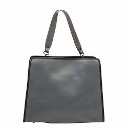 Кожаная деловая сумка Genuine Leather 8877 серого цвета на молнии, с металлическими ножками