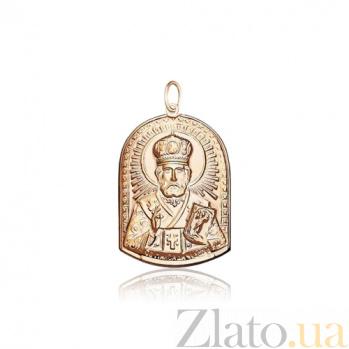 Ладанка из красного золота Николай Чудотворец EDM--П058