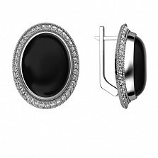 Серебряные серьги Эльвира с черным агатом и фианитами