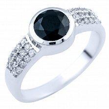 Серебряное кольцо Мерканто с сапфиром и фианитами
