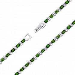 Серебряный браслет с хризолитами и фианитами 000136602