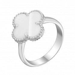 Серебряное кольцо Клевер с белым перламутром 000095601