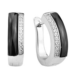 Серебряные серьги с черной керамикой и фианитами 000131751