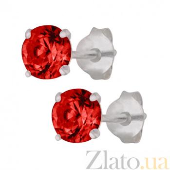 Серебряные сережки-пуссеты с красным цирконием Эсселта SLX--С2ФГ/603