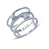 Серебряное тройное кольцо с фианитами Клеопатра