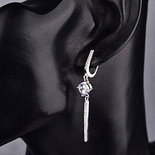 Серебряные серьги-подвески Инга с кристаллами циркония