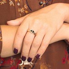Кольцо в красном золоте Афина с агатом
