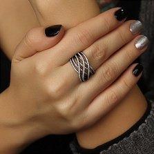 Серебряное кольцо Волны света в черном родии с фианитами