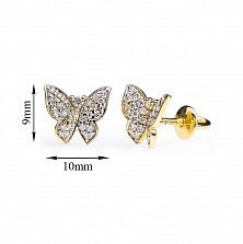 Серьги-пуссеты из желтого золота Кокетливые бабочки с бриллиантами