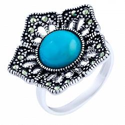 Кольцо из серебра Василина с бирюзой и марказитом 000057570