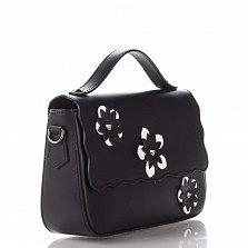 Кожаный клатч Genuine Leather 1543 черного цвета с короткой ручкой и цветами на клапане