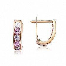 Золотые серьги Моник с розовым и белым цирконием