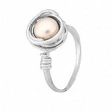Серебряное кольцо с жемчужиной Морское сокровище