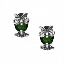 Серебряные серьги Строгие совы с зелеными и белыми фианитами