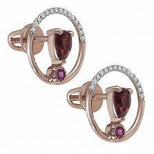Серьги-пуссеты из красного золота Юджиния с гранатами, рубинами и бриллиантами