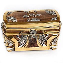 Деревянная шкатулка с серебром и позолотой 000004493
