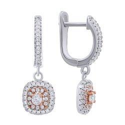 Серебряные серьги-подвески с цирконием и позолотой 000140181