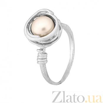Серебряное кольцо с жемчужиной Морское сокровище 000028043