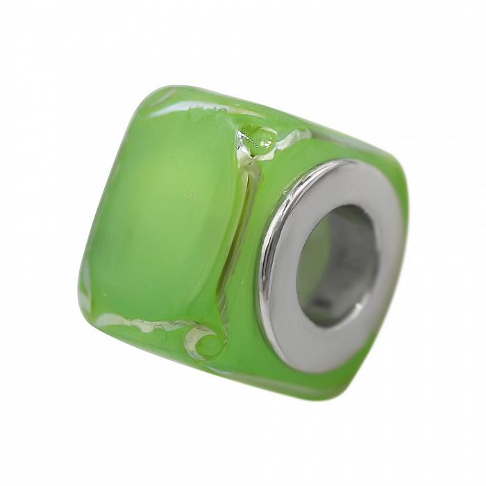 Серебряный шарм Абсент с зеленым муранским стеклом 000081724