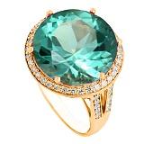 Золотое кольцо с зеленым аметистом и фианитами Успех