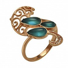Кольцо в красном золоте Сильвия с улекситом и фианитами