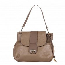 Кожаная сумка на каждый день Genuine Leather 8813 цвета тауп на молнии под клапаном