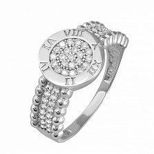 Серебряное кольцо Часики с фианитами