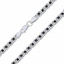 Серебряный браслет Мирена с чёрным цирконием, 4,5мм