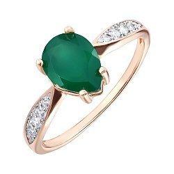 Золотое кольцо в комбинированном цвете с агатом и фианитами 000141243