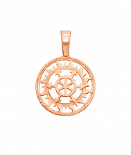 Кулон-оберег из красного золота Щит Перуна