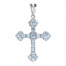 Крестик из белого золота Мирелла с голубым топазом