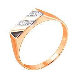 Золотой перстень-печатка в комбинированном цвете с цирконием и черной эмалью 000117637