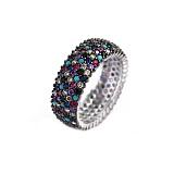 Серебряное кольцо Мозаика с разноцветными фианитами