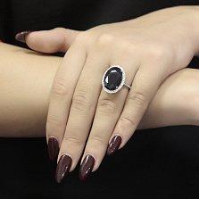 Серебряное кольцо Лили с гидротермальным сапфиром и фианитами