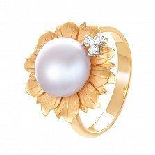 Золотое кольцо Подсолнух с белой жемчужиной и бриллиантами