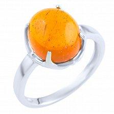 Серебряное кольцо Велари с янтарем