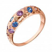 Кольцо из красного золота Карнавал с разноцветными кристаллами Swarovski