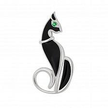 Серебряная  брошка Египетская кошка с черной эмалью и цирконием