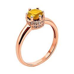 Кольцо из красного золота с цитрином и фианитами 000137492