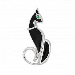 Серебряная  брошка Египетская кошка с черной эмалью и цирконием 000096419