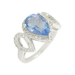 Серебряное кольцо с флюоритом и цирконием Рени