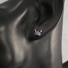 Серебряные родированные серьги-пуссеты Крабики с рубиновыми и черными фианитами
