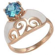Золотое кольцо Мадам с топазом и эмалью